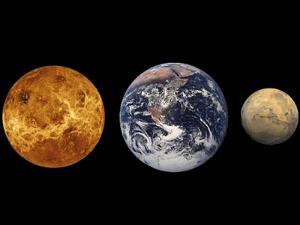 Mars, Bumi dan Venus