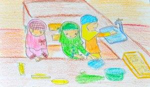 Cerita Mela_Ikal, Ratih dan Putri menyiapkan Bahan