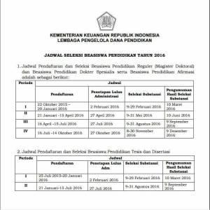 Jadwal Pendaftaran LPDP